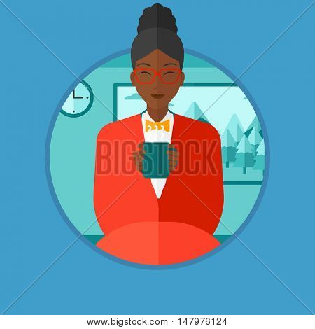 An african-american woman relaxing under blanket with cup of coffee. Young woman holding a cup of hot flavored coffee or tea. Vector flat design illustration in the circle isolated on background.