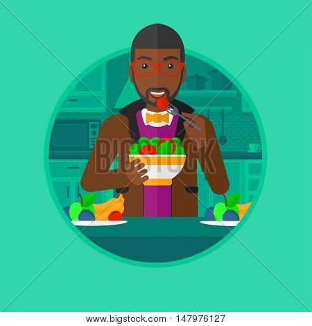 An african-american young man eating fresh healthy vegetable salad at home. Man holding bowl full of salad in the kitchen. Vector flat design illustration in the circle isolated on background.