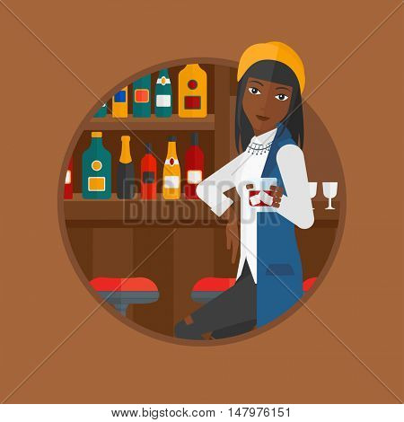 African-american woman sitting at the bar counter. Woman sitting with glass in bar. Young woman sitting alone at the bar counter. Vector flat design illustration in the circle isolated on background.