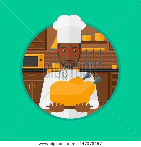 An african-american young chief cooker holding whole baked chicken in the kitchen. Chief cooker with roasted chicken. Vector flat design illustration in the circle isolated on background.