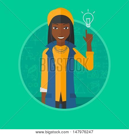 An african-american young woman pointing finger up at the light bulb on a background of blackboard with mathematical equations. Vectr flat design illustration in the circle isolated on background.