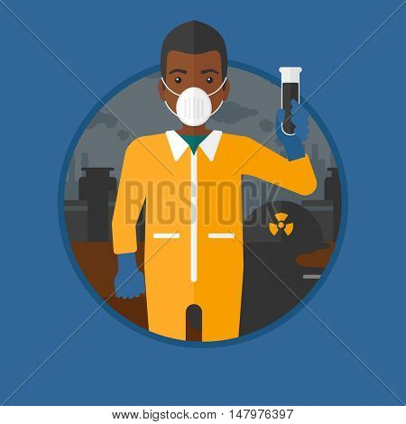 An african-american man in radiation protective suit holding a test-tube with black liquid on a background of nuclear power plant. Vector flat design illustration in the circle isolated on background.