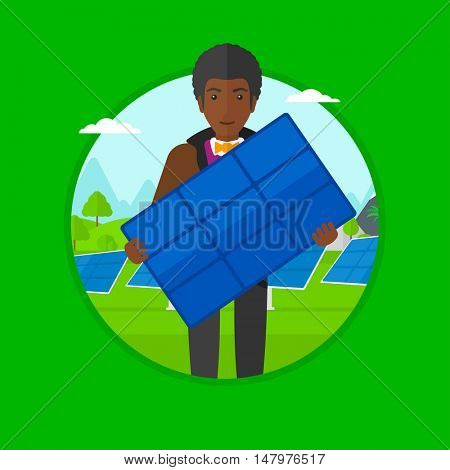 An african-american young man standing with solar panel in hands on the background of solar power plant. Green energy concept. Vector flat design illustration in the circle isolated on background.