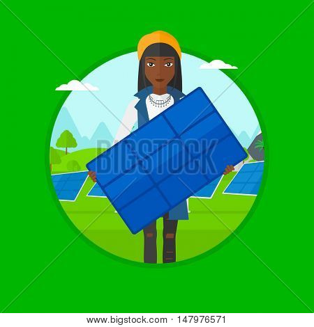 An african-american young woman standing with solar panel in hands on the background of solar power plant. Green energy concept. Vector flat design illustration in the circle isolated on background.
