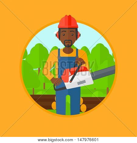 An african-american woodcutter holding a chainsaw. Woodcutter in workwear, hard hat and headphones at the forest with logs. Vector flat design illustration in the circle isolated on background.