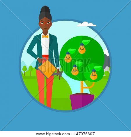 An african-american woman watering tree growing in pot on the background of wind turbine. Concept of environmental protection. Vector flat design illustration in the circle isolated on background.