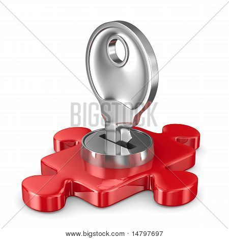Puzzle With Key On White Background. Isolated 3D Image