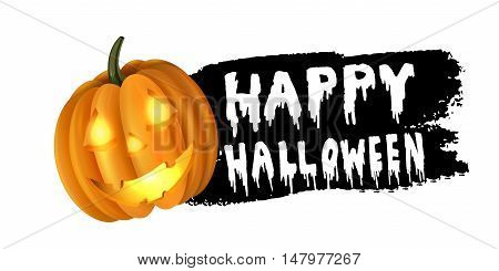 Halloween pumpkin label sticker with white bloody letters on black