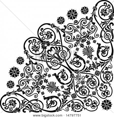 illustration with black curled quadrant ornament