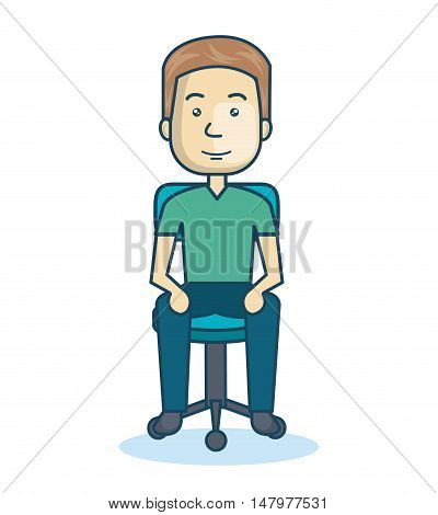 cartoon guy sitting on chair design isolated