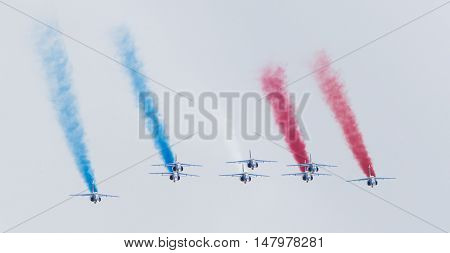 Leeuwarden, The Netherlands-june 11, 2016: Pilots Of Patrouille De France Perform Acrobatics At The