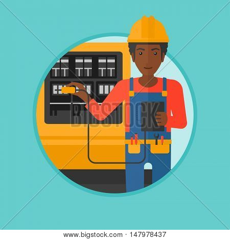 An african-american man measuring the voltage output. Electrician with electrical equipment standing in front of switchboard. Vector flat design illustration in the circle isolated on background.