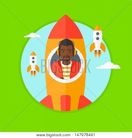 African-american businessman in headphones flying in the rocket. Successful business start up concept. Business rocket taking off. Vector flat design illustration in the circle isolated on background.