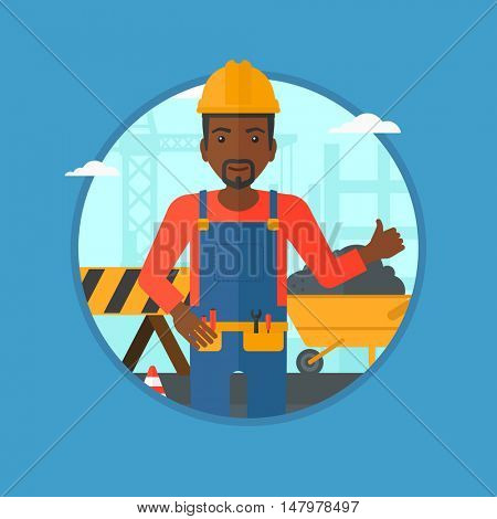 An african-american builder in helmet giving thumb up. A builder with thumb up on a construction site. Man giving thumb up on a background of road works. Vector flat design illustration in the circle.