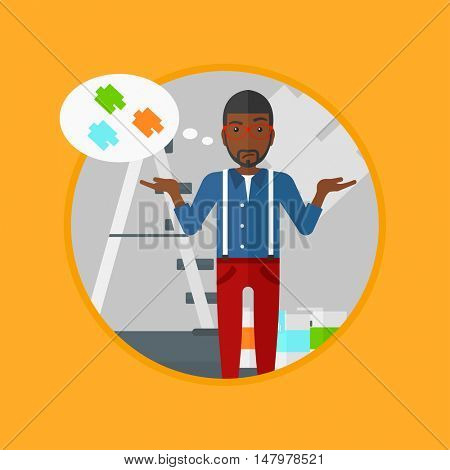 An african-american doubtful man choosing color for walls in apartment. Young man with spread arms choosing a color of paint. Vector flat design illustration in the circle isolated on background.