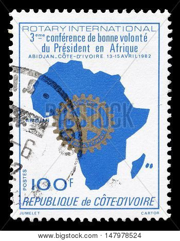 IVORY COAST - CIRCA 1982 : Cancelled postage stamp printed by Ivory Coast, that shows Map of Africa.
