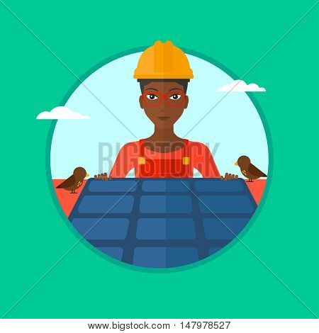 An african-american woman installing solar panels on roof. Technician in inuform and hard hat checking solar panels on roof. Vector flat design illustration in the circle isolated on background.