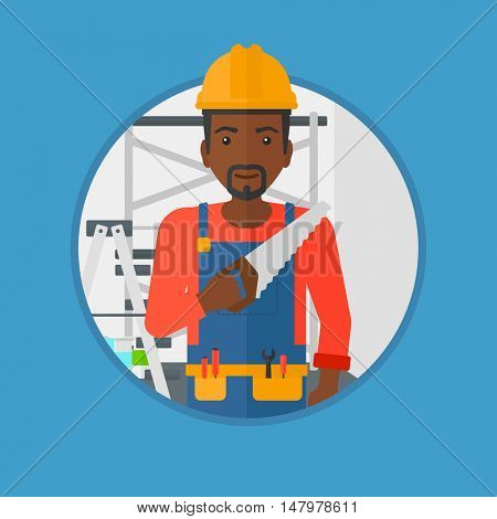 An african-american worker in overalls and hard hat holding a saw in hand. Young man in helmet standing with saw in apartment. Vector flat design illustration in the circle isolated on background.