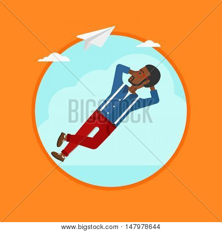 An african-american young businessman lying on a cloud and looking at flying paper plane. Business man relaxing on a cloud. Vector flat design illustration in the circle isolated on background.
