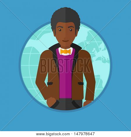 An african-american businessman standing on map background. Business man taking part in global business. Global business concept. Vector flat design illustration in the circle isolated on background.