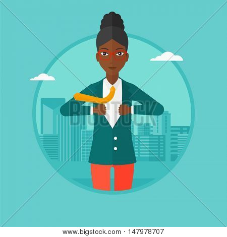 An african-american business woman opening her jacket like superhero on the background of modern city. Business woman superhero. Vector flat design illustration in the circle isolated on background.