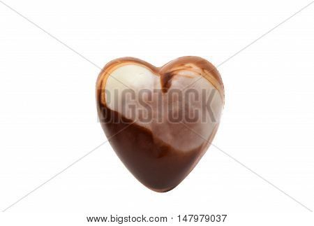 Belgian chocolate heart dessert macro on white background