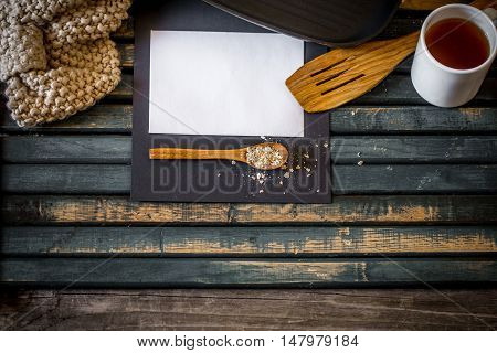 The Cozy Kitchen Still Life On Wooden Background.place For Text  White Paper