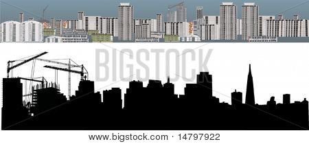 illustration with two cities landscapes