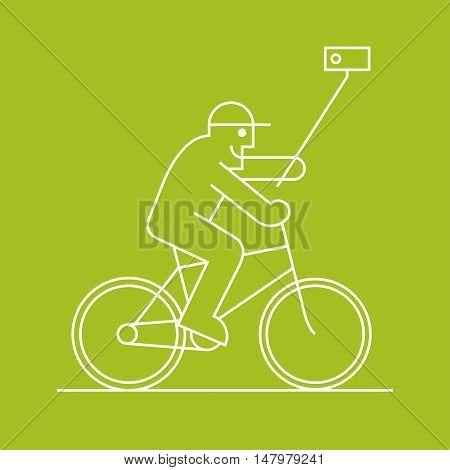 Old man biking and makign selfie with phone on a stick vector line design element. Active happy and modern pensioner clip