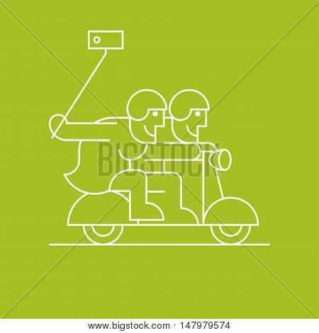 Old people on scooter taking selfie with phone vector line clipart. Active and modern grandparents elderly people pensioners symbol icon emblem