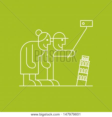 Old senior people making selfie with camera and stick near Pisa tower in Italy vector linear symbol icon. Active and modern pensioners elderly people travel clipart
