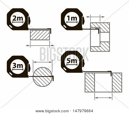 Measuring tape. Measurement methods. Set of icons on white background