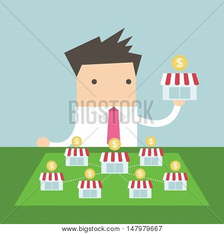 Businessman want to expand his business. vector
