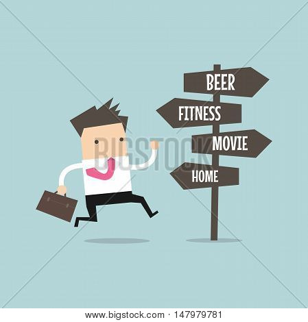 Businessman with destination to go after work. vector