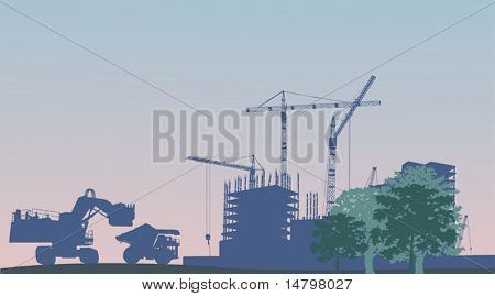 illustration with house building, cranes and truck