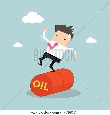 Businessman Balancing on Oil Barrel Rolling. Vector