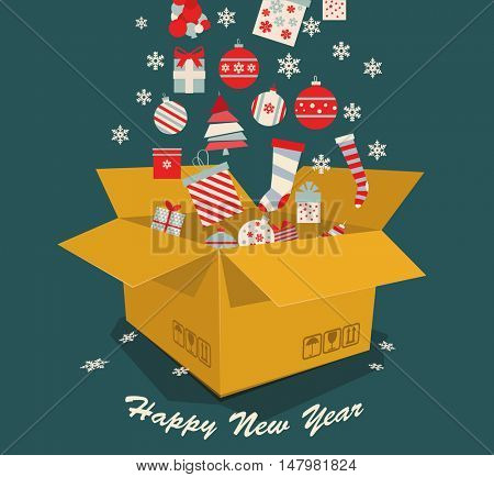 Christmas toys, gifts and sweets are falling in a box. Holidays poster. Vector illustration