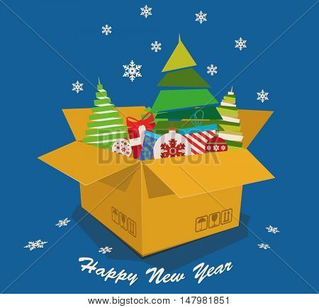 Christmas toys, gifts and sweets are in a box. Holidays poster. Vector illustration