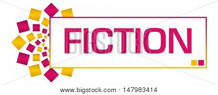 Fiction text written over pink orange background.