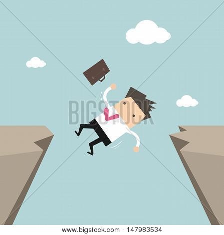 Businessman falling from gap of cliff. vector