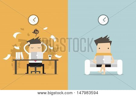 Businessman and freelance life. business concept cartoon vector