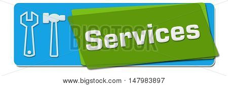 Services text with related symbol written over green blue background.