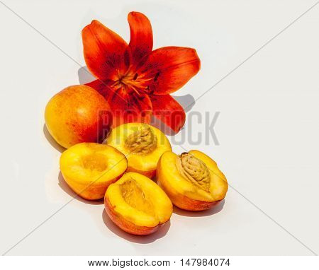 Peaches. South Fleshy Juicy Fruit With Yellow-red Downy Skin,