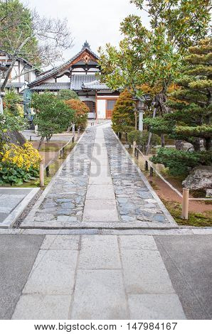 japanese houses inside Tenryu-ji Temple and it's big zen zen garden