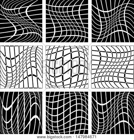 Crossing wavy lines in net backdrops. Vector art.