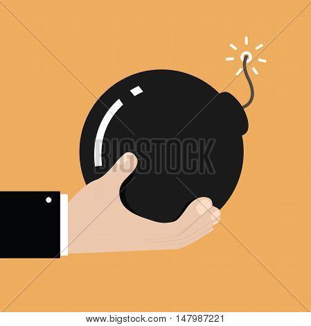 Hand holding circle shaped bomb with burning fuse. vector