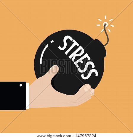 Stress and stressful situation concept. Hand holding bomb with burning fuse and stress text on it. vector