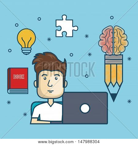 guy education online with laptop design vector illustration eps 10