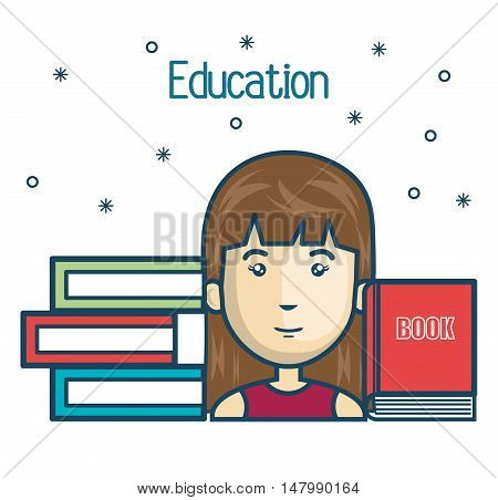 cartoon girl student education books read design vector illustration graphic