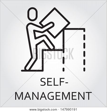 Black flat line vector icon with a picture of self-management as man builds a graph on white background.